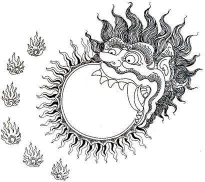 Kala Rahu eating the sun, causing solar aclipse